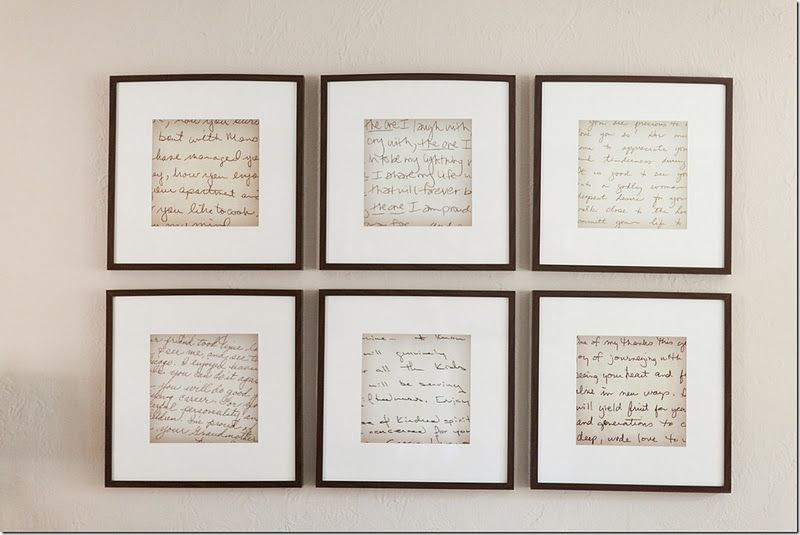 copy and enlarge the 4 grandmothers' recipes, use wide mats and sq frames, install in a grid.  OR use papers the kids wrote.