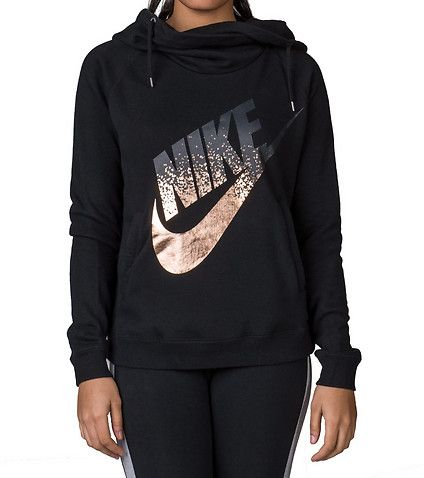 NIKE Rally funnel foil logo pullover hoodie Long sleeves ...