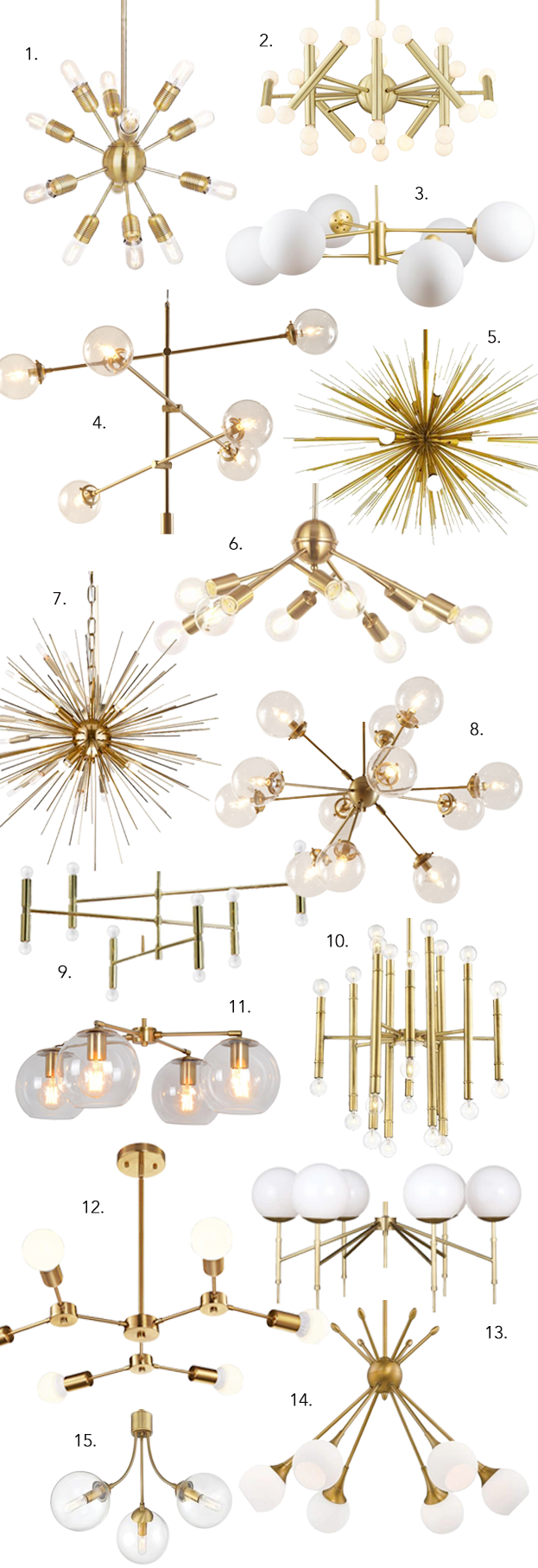 ROUND-UP: GOLD/BRASS MID-CENTURY MODERN CHANDELIER LIGHTING - heydjangles.com - 14 gorgeous options, from Sputnik chandeliers, bubble lights, branch lighting and more. Who doesn't love a good Mid-century modern statement chandelier?! So much drama! #midcenturymodern #statementlighting #drama