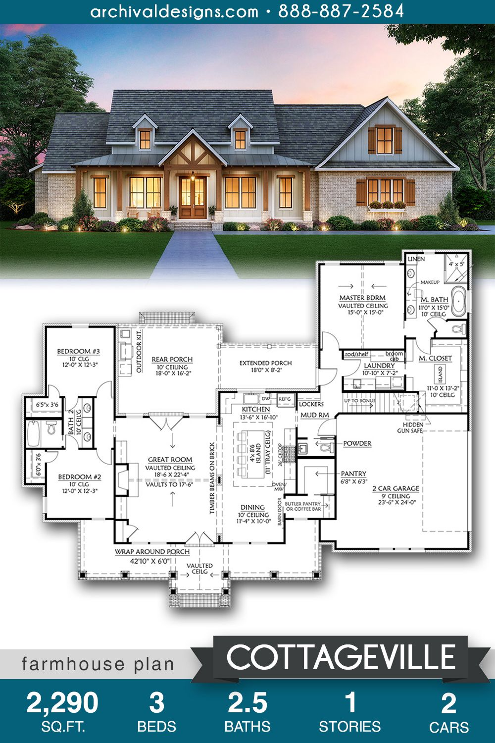 Cottageville Farmhouse | Ranch house plan with spr