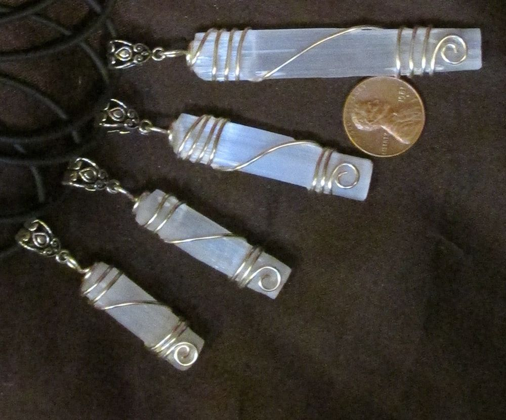 1 Wire Wrapped Selenite/ Satin Spar Pendant- Natural Stone/Crystal ...
