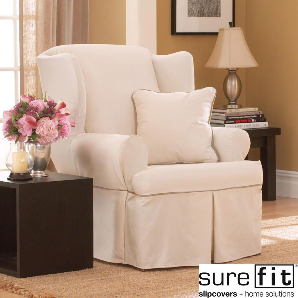 Sure Fit Contrast Cord Duck Natural Wing Chair Slipcover (Natural/Cocoa),  Beige