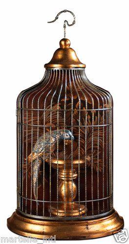 Blue porcelain parrot in golden cage hand painted unique for International home decor llc