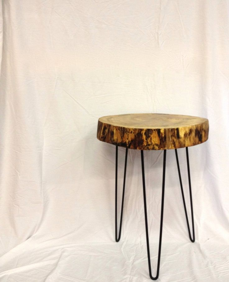 Natural Live Edge Round Slab Side Table / Night Stand With Steel Legs