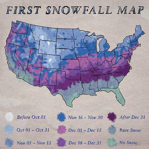 First Snowfall Map Maps Globes Pinterest - First snow map us