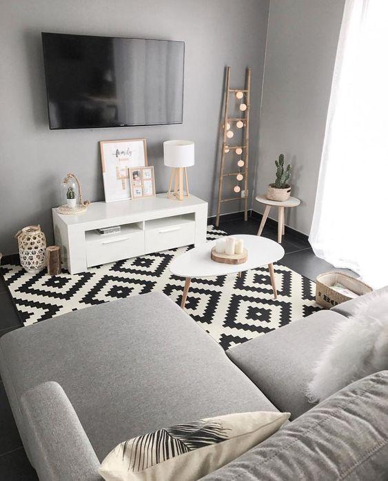 Salon scandinave gris noir et blanc