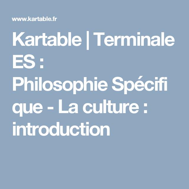 Kartable Terminale E Philosophie Specifique La Culture Introduction Es Exemple De Dissertation Economique Redigee Pdf