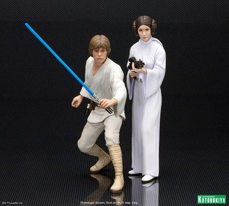 Kotobukiya Luke Skywalker and Princess Leia Star Wars ARTFX Statue