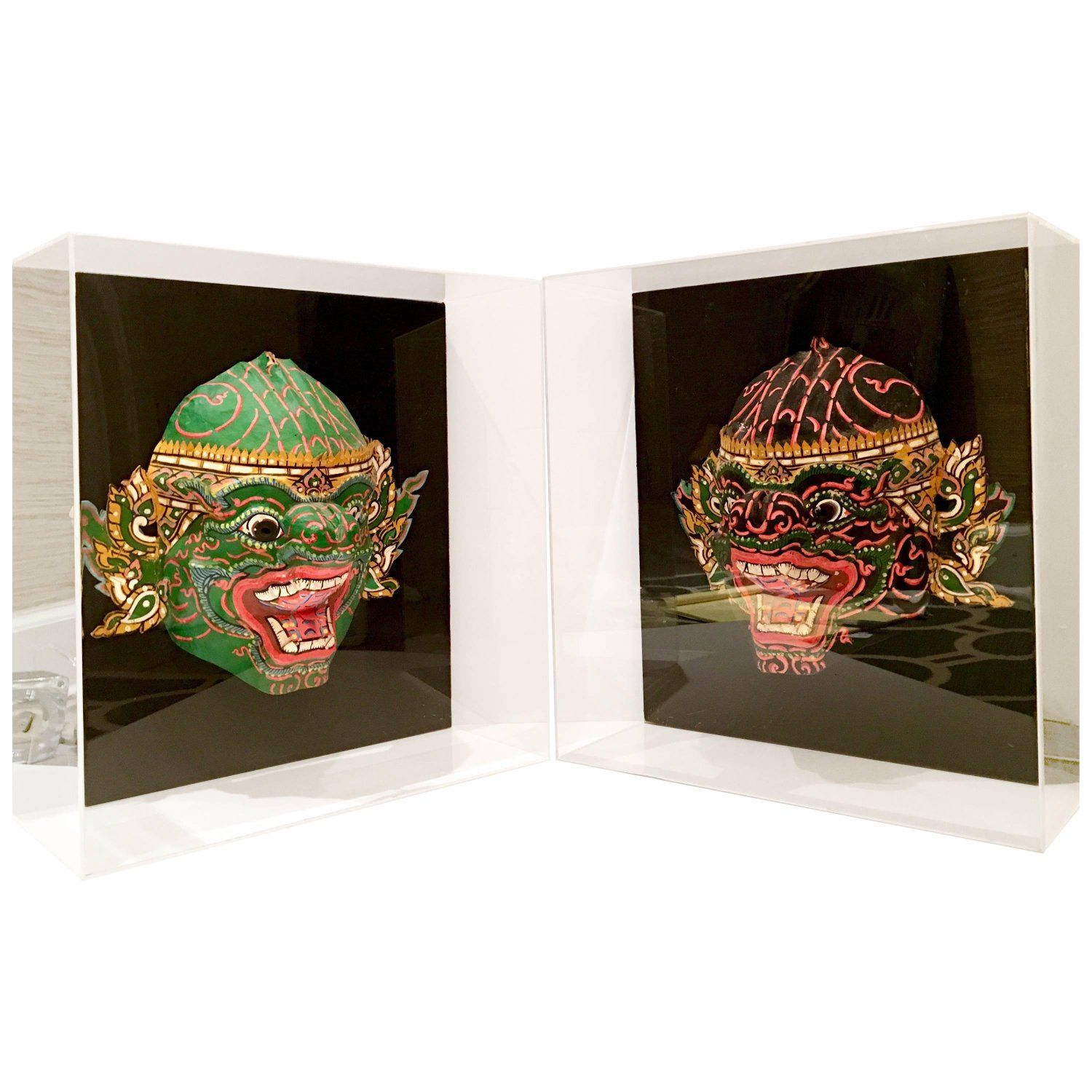Pair of 20th Century Lucite Shadow Box Mounted Hand Painted Tribal