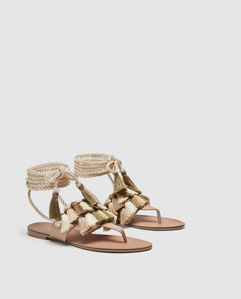 3271621c36b Image 2 of FLAT LEATHER SANDALS WITH TASSELS from Zara