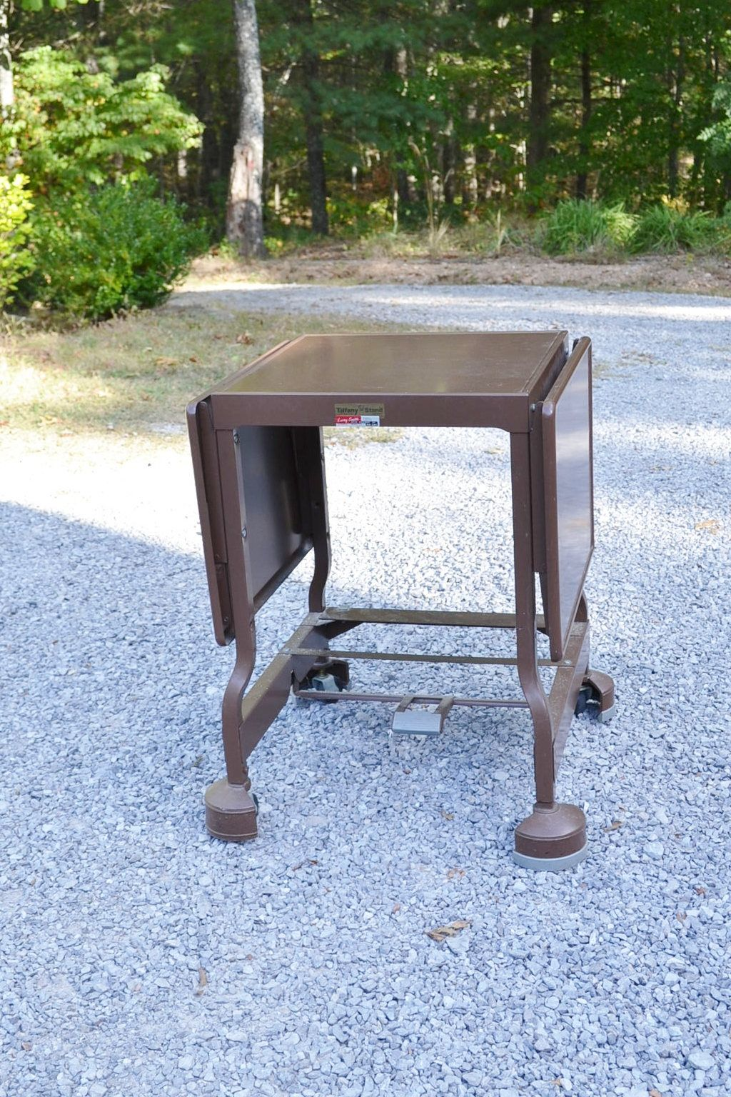 Vintage Metal Desk Rolling Table Brown Beige Typewriter Stand Portable Bar  On Wheels Tiffany Stand Co