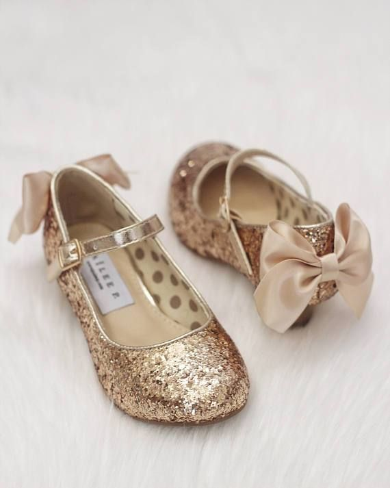 175182cb451 GOLD Rock Glitter Maryjane Heels With Satin Bow | Flower Girls Shoes ...