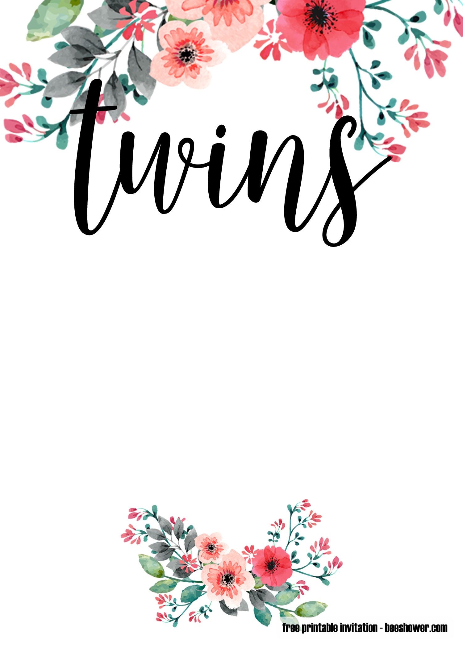 image about Free Printable Twin Baby Shower Invitations identified as Cost-free Printable Dual Child Shower Invites Totally free