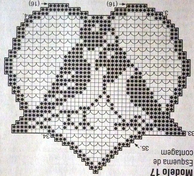 Coeurs et leurs grilles gratuites ! | CUORI | Pinterest | Ganchillo