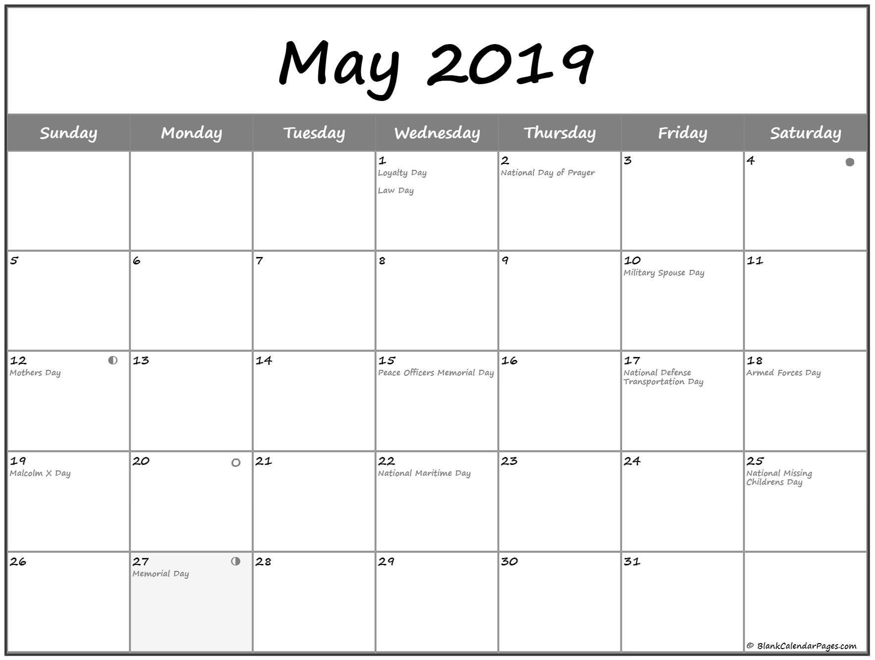 Moon Phases Calendar For May 2019 May 2019 Lunar Calendar Make