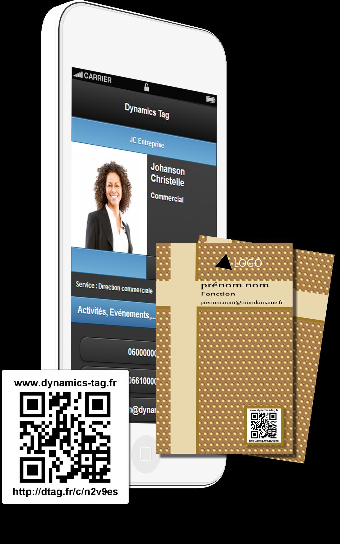 Cartes De Visite Papier Associe Une Carte Virtuelles Via Un Qrcode Fond Marron Et Bande En Croix Beige