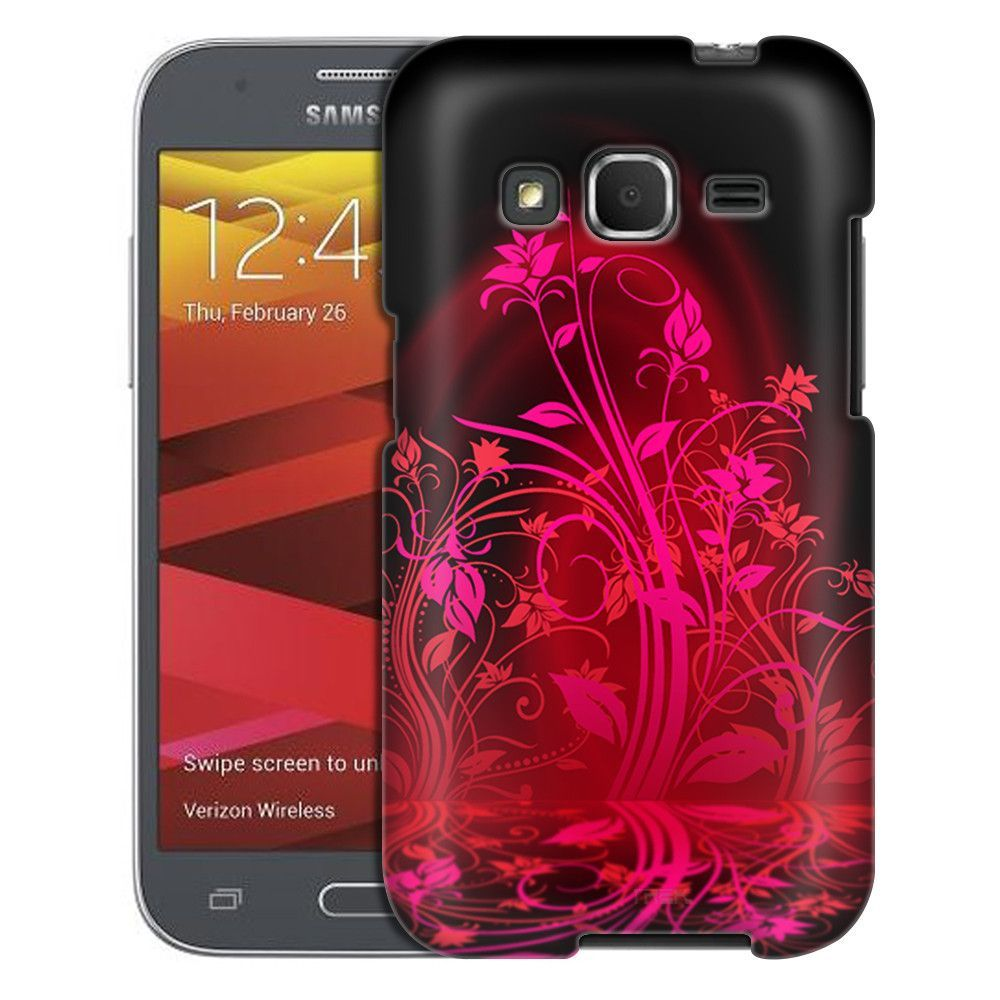 Samsung Galaxy Prevail LTE Pink Plant Beautiful Shadows on Black Case