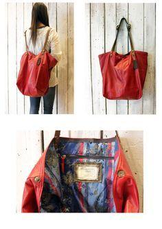 BOUQUET Handmade Italian Leather Tote Handbagbackpack di LaSellerieLimited su Etsy