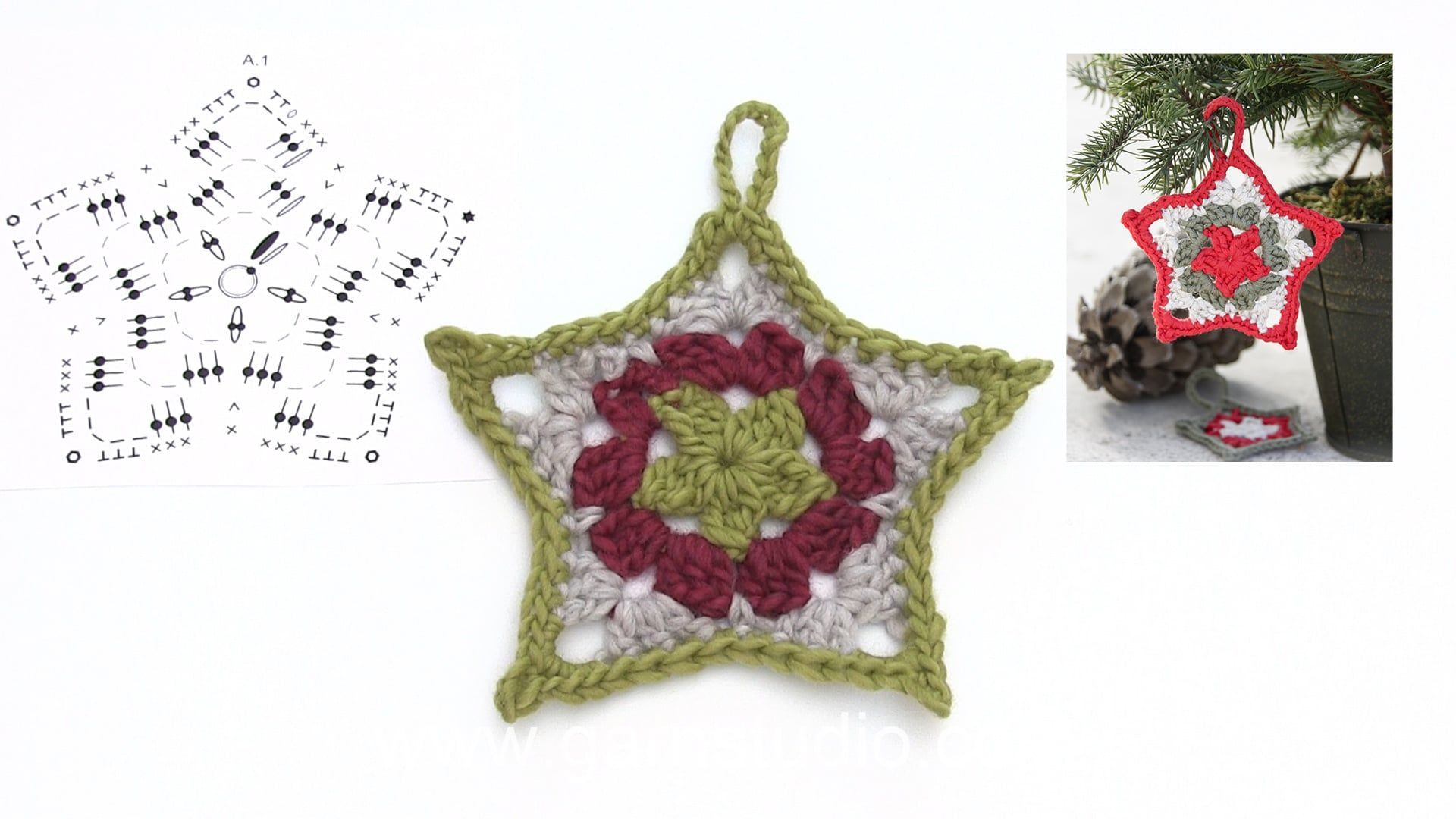 How to crochet a Christmas star with stripes Free crochet pattern ...