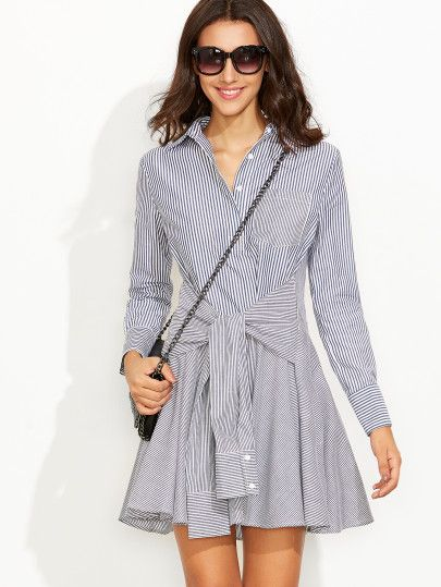 Navy Striped Sleeve Tie A Line Shirt Dress  b99d927e5015