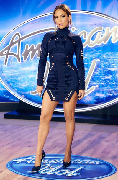 67a9f95c53 Jennifer Lopez for American Idol auditions wearing Thierry Mugler eyelet  detailed long sleeve dress