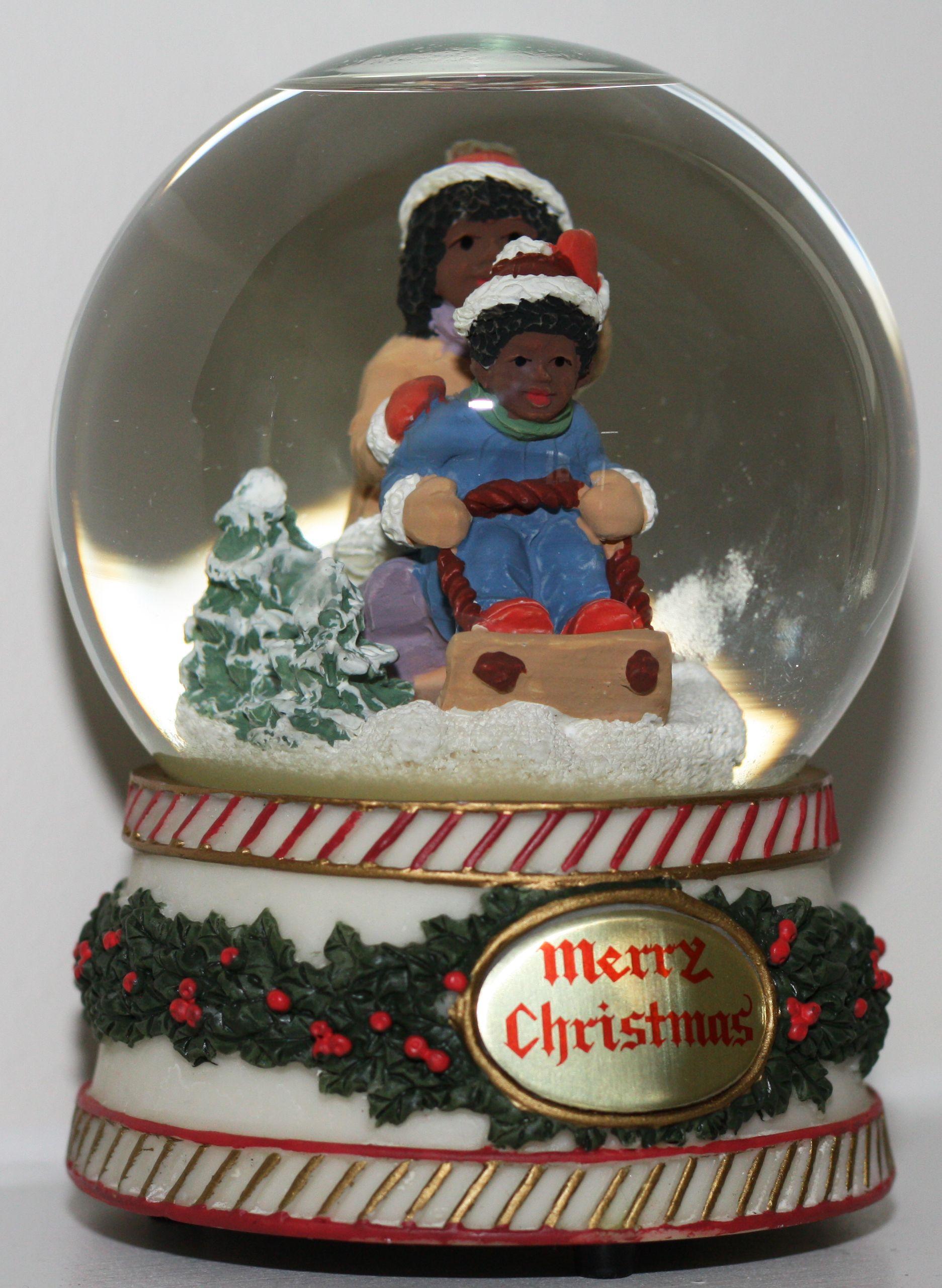 Black African American Kids Snow Globe Black Christmas Black Santa Black African American