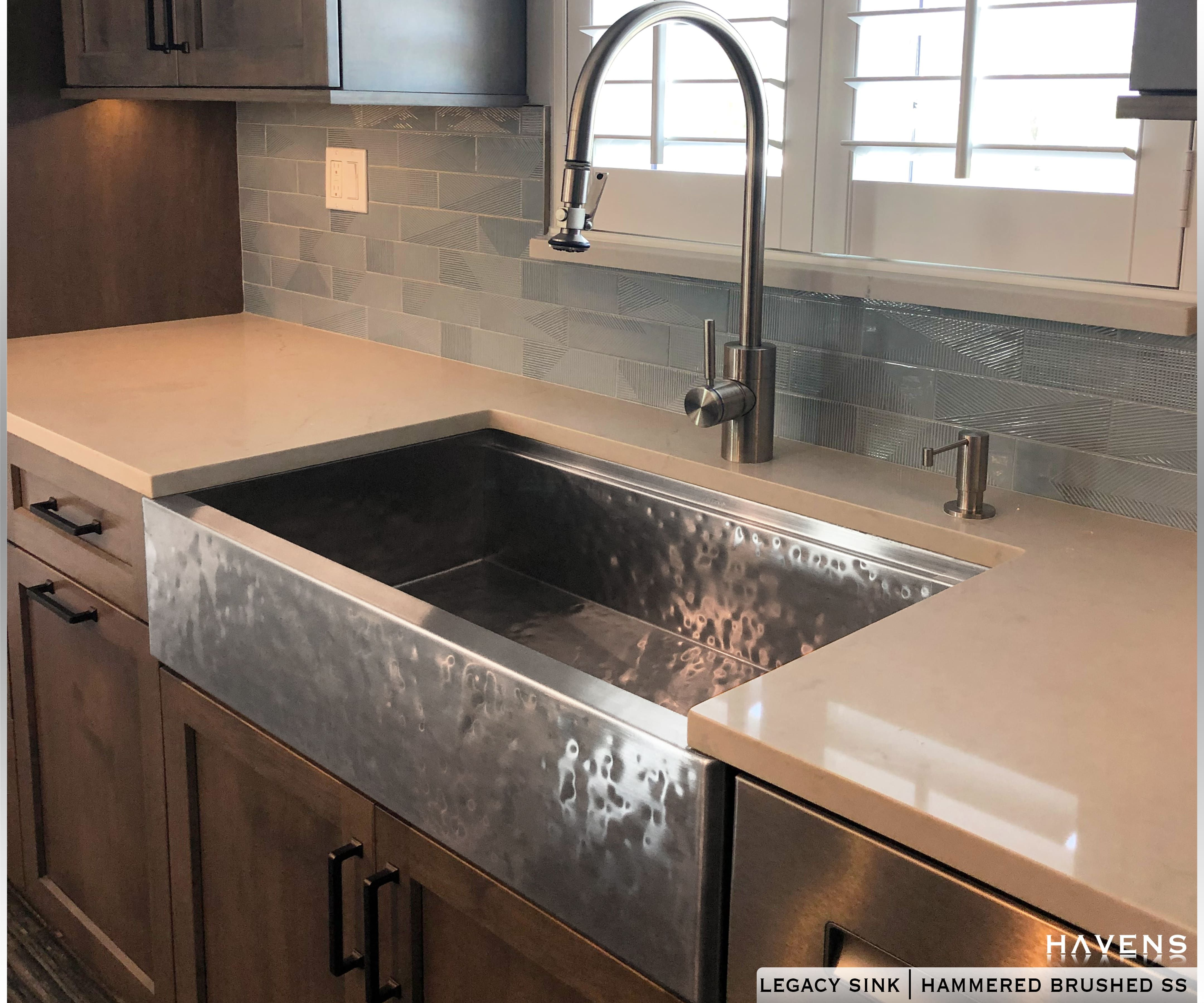 Hammered Stainless Steel Farmhouse Sink Havensmetal Com Havensgallery Com Stainless Farmhouse Sink Kitchen Sink Inspiration Stainless Steel Farmhouse Sink