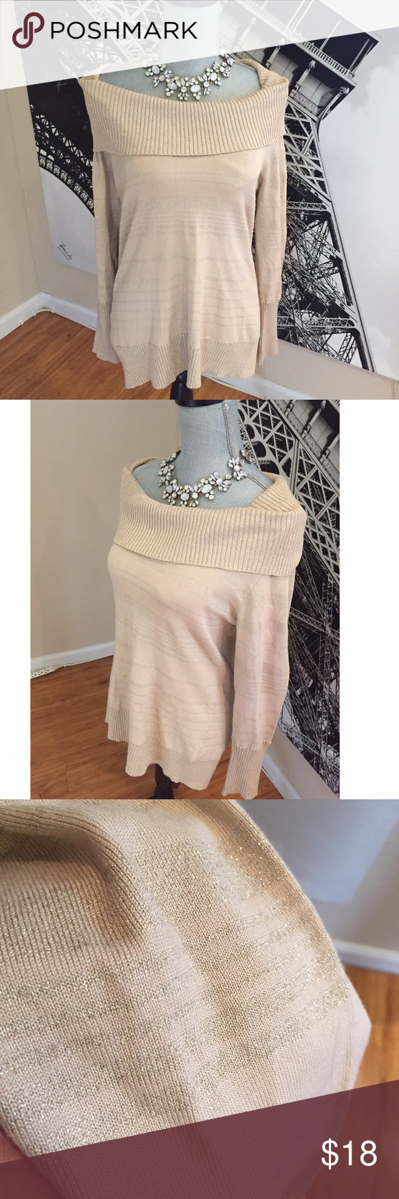 🌟Cream Colored Tunic/Sweater w/ Gold Stripes-EUC | Gold stripes ...