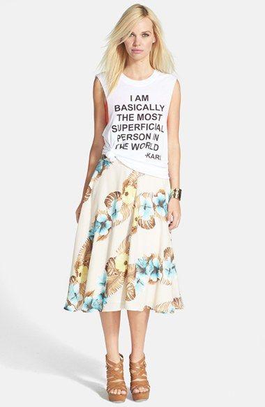 June & Hudson Floral Print Midi Skirt - love the Hawaiian print AND the tank!