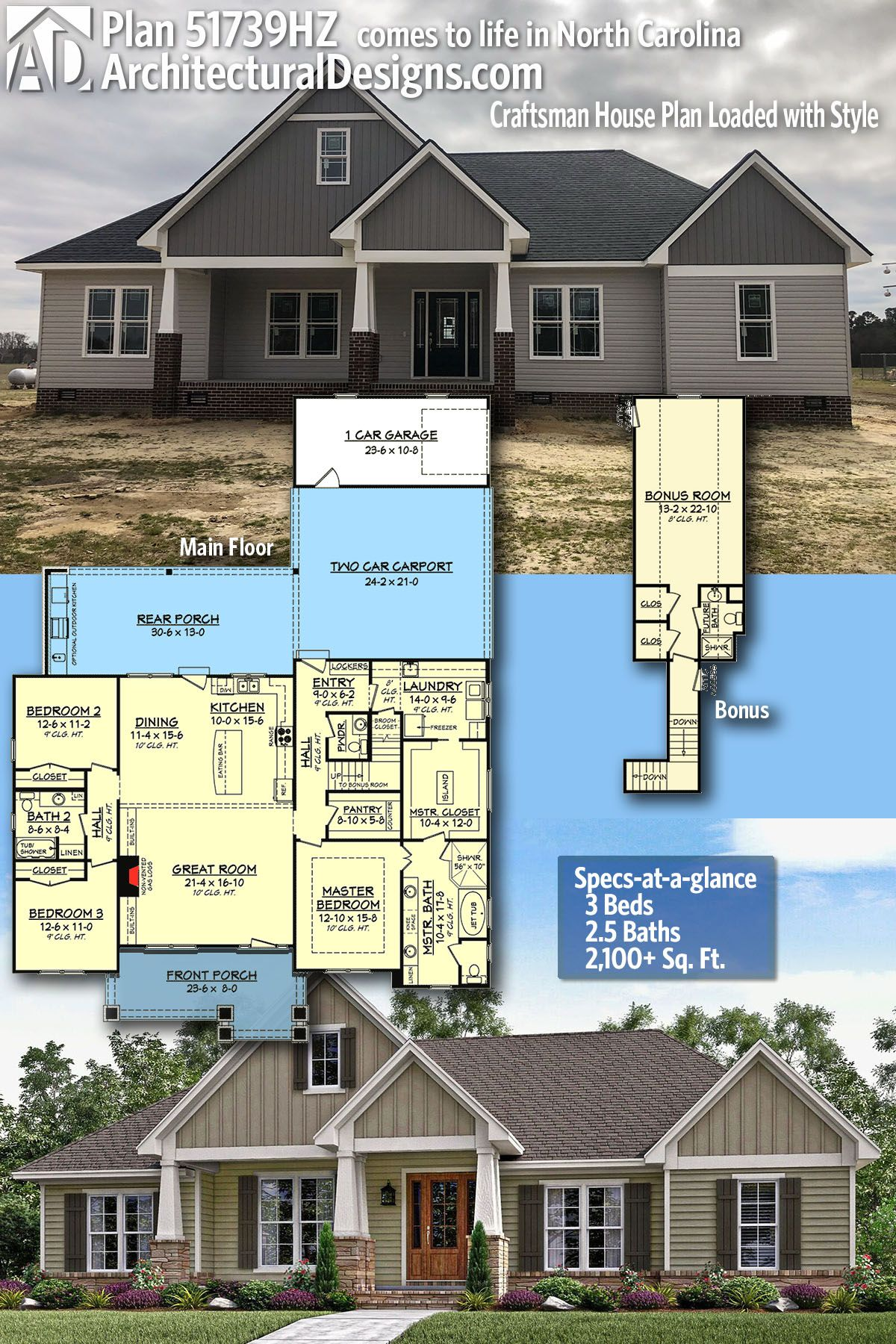 Plan 51739hz Craftsman House Plan Loaded With Style Craftsman House Plan Architectural Design House Plans Craftsman House