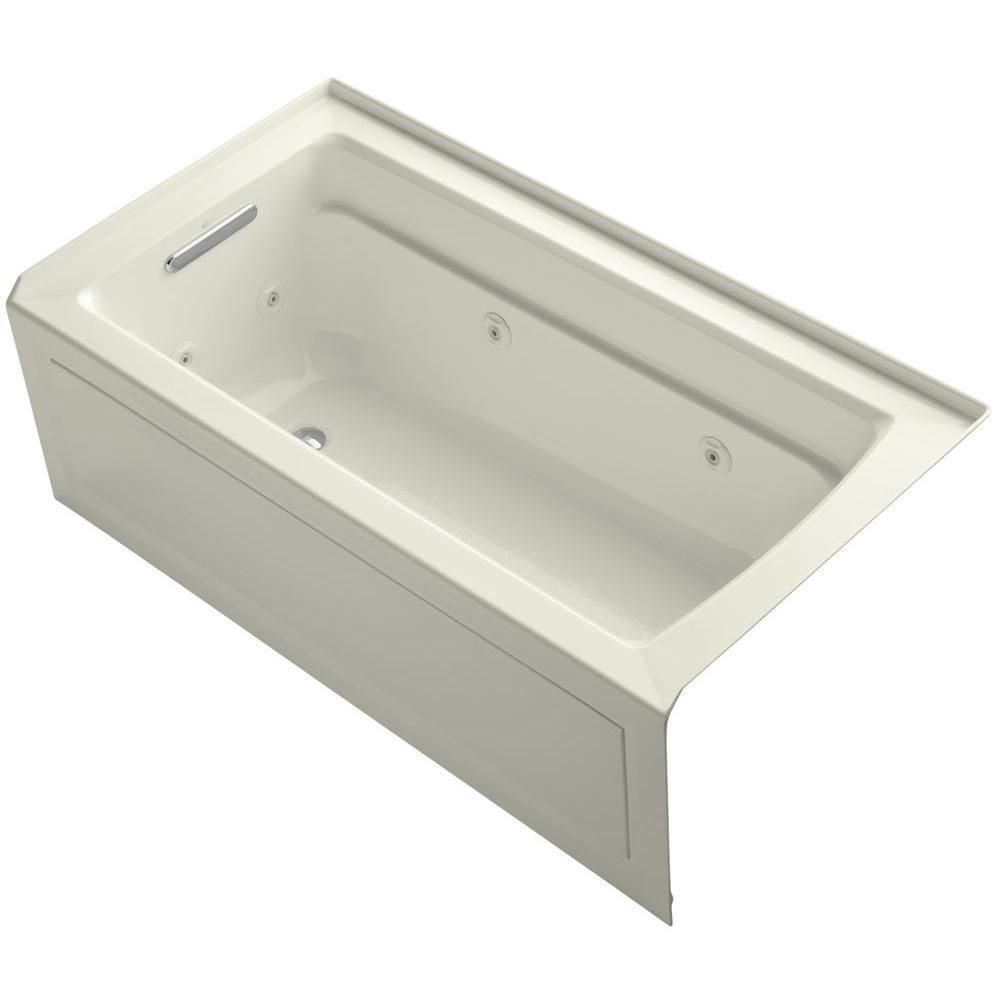 Kohler Archer 5 Foot Whirlpool Tub (Right hand biscuit), Beige Off ...