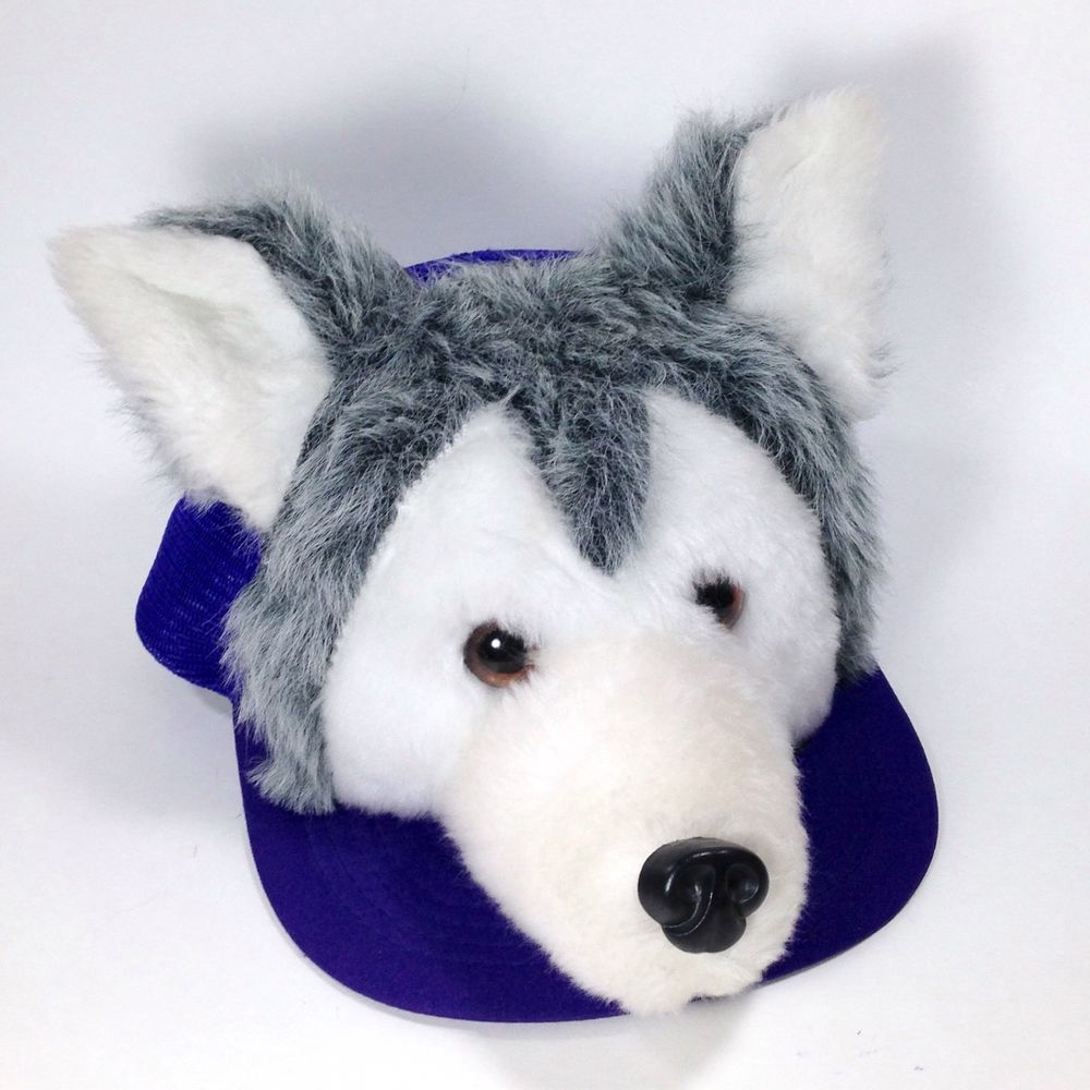 24cb39e17dc Novelty hat features a 3D plush husky wolf head with ears