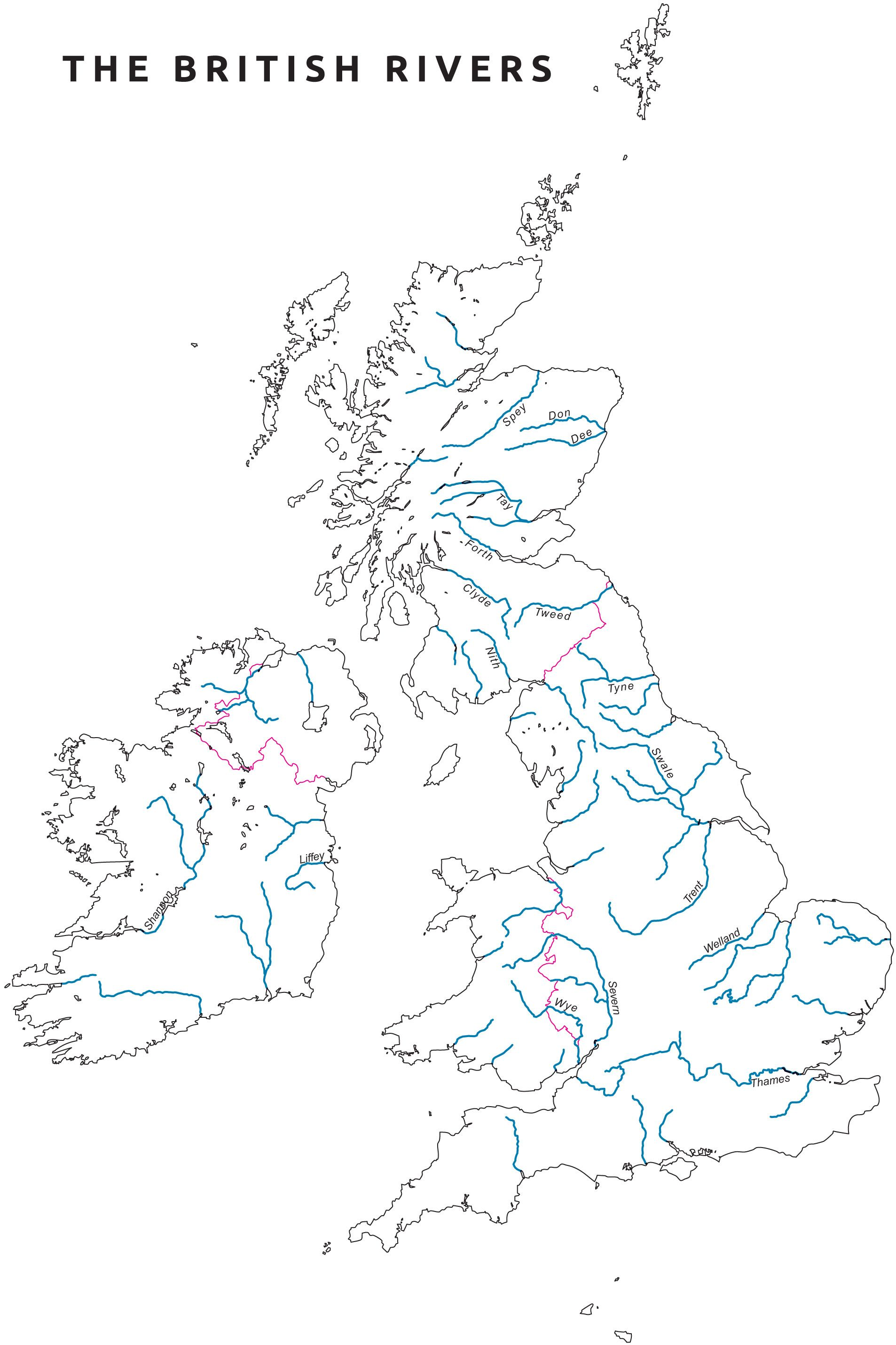 Outline map of UK with rivers | Mapping the World by Heart | River ...