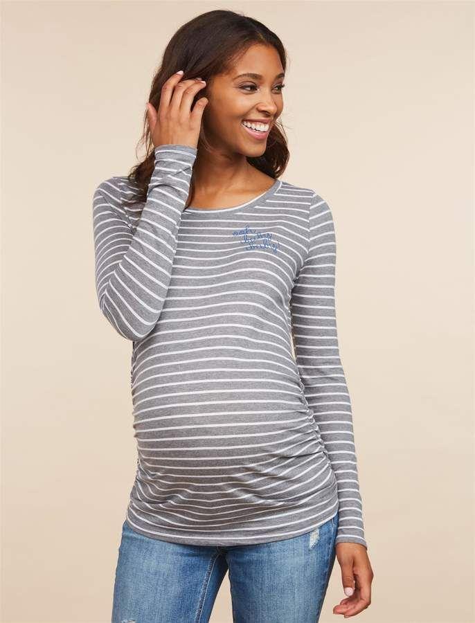 d61b7f2f82901 Motherhood Maternity Ooh Baby Baby Long Sleeve Maternity T Shirt  crew Neck  screen