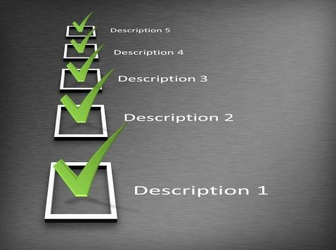 Powerpoint Checklist Template With Black Background And Green Marks