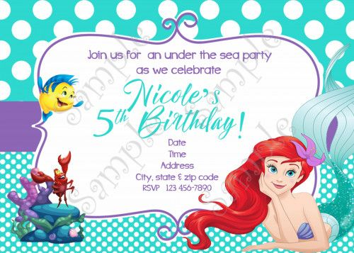 Little Mermaid Invitation Ariel Invitation FREE Thank you card