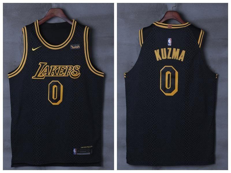 ae8cb570af1 Men 0 Kyle Kuzma Jersey City Edition Black Los Angeles Lakers Authentic  Player