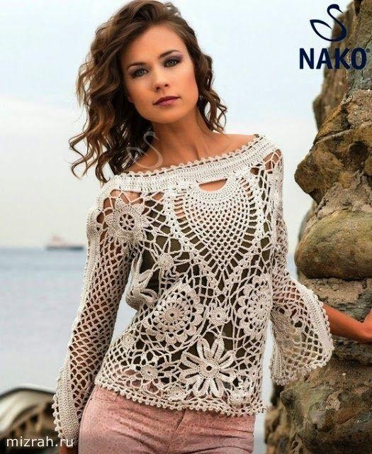 Patrones de Túnica artesanal tejida al crochet | blusas tejidas ...