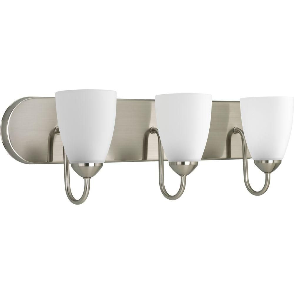 Photo of Progress Lighting Gather 2-Light Brushed Nickel Bathroom Vanity Light with Glass Shades-P2707-09 – The Home Depot