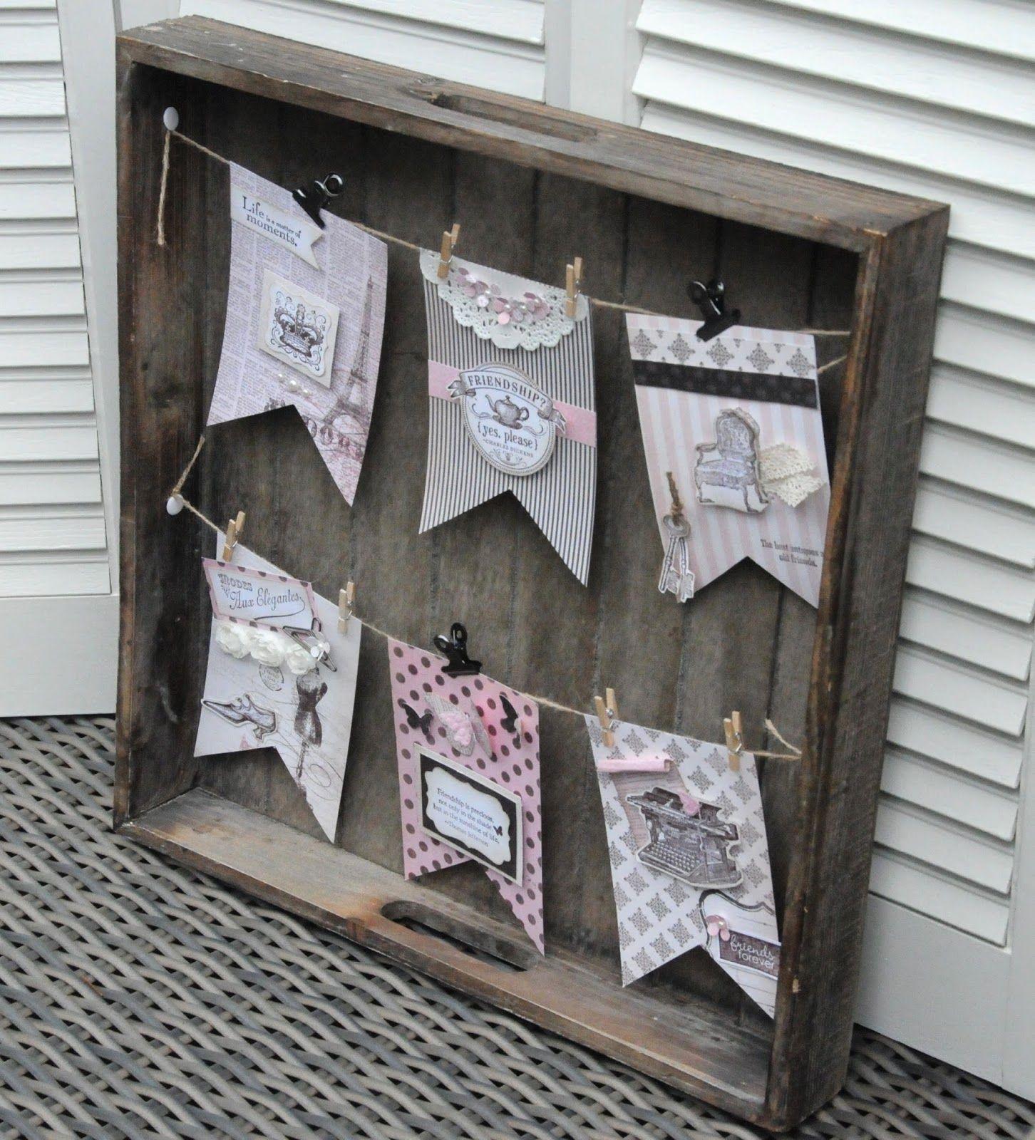 Laura's Creative Moments: Een oud dienblad een beetje opgeleukt met een slinger ... Like the banner embellishments