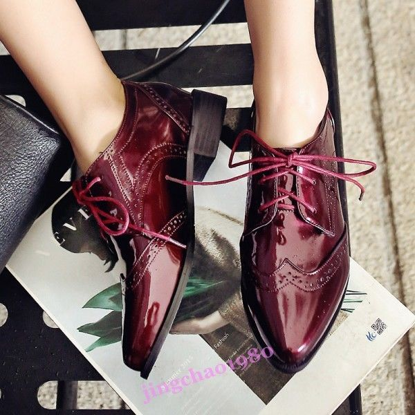 dc10eec5ef Chunky Heels Pointy Toe Brogues Lace Up Wingtip Patent Leather Oxfords Shoes