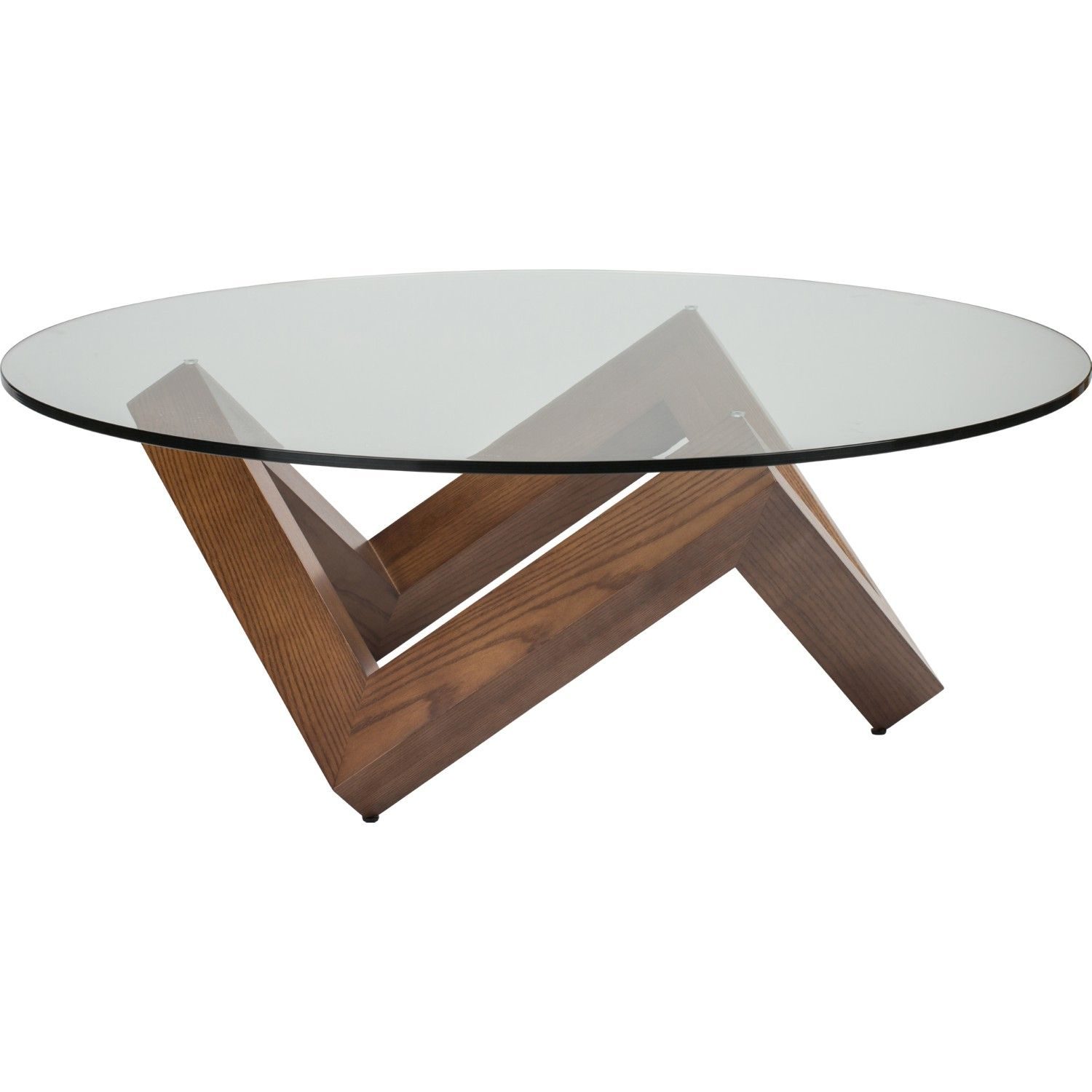 Nuevo Como 41 Quot Coffee Table Round Clear Glass Top On Geometric Walnut Base Glass Wood Table Coffee Table Walnut Coffee Table [ 1500 x 1500 Pixel ]