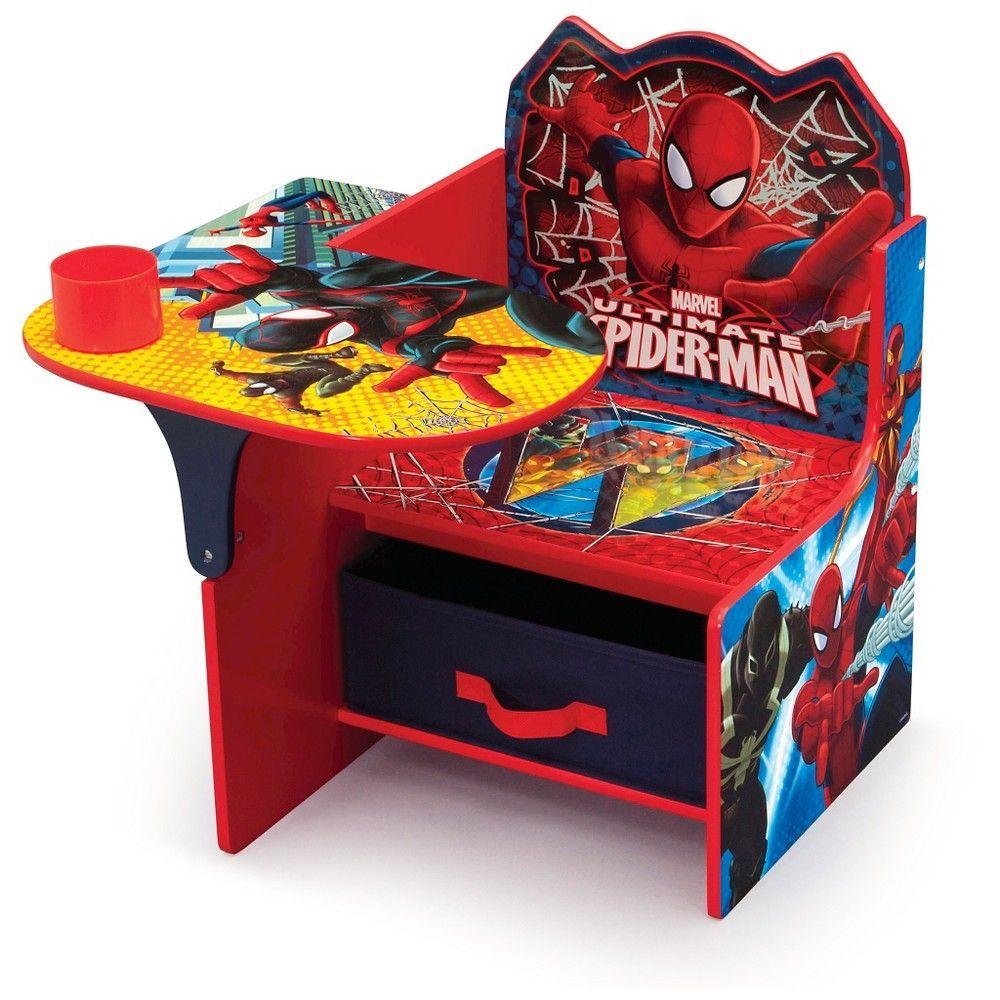 Marvel spiderman chair desk with storage bin red man