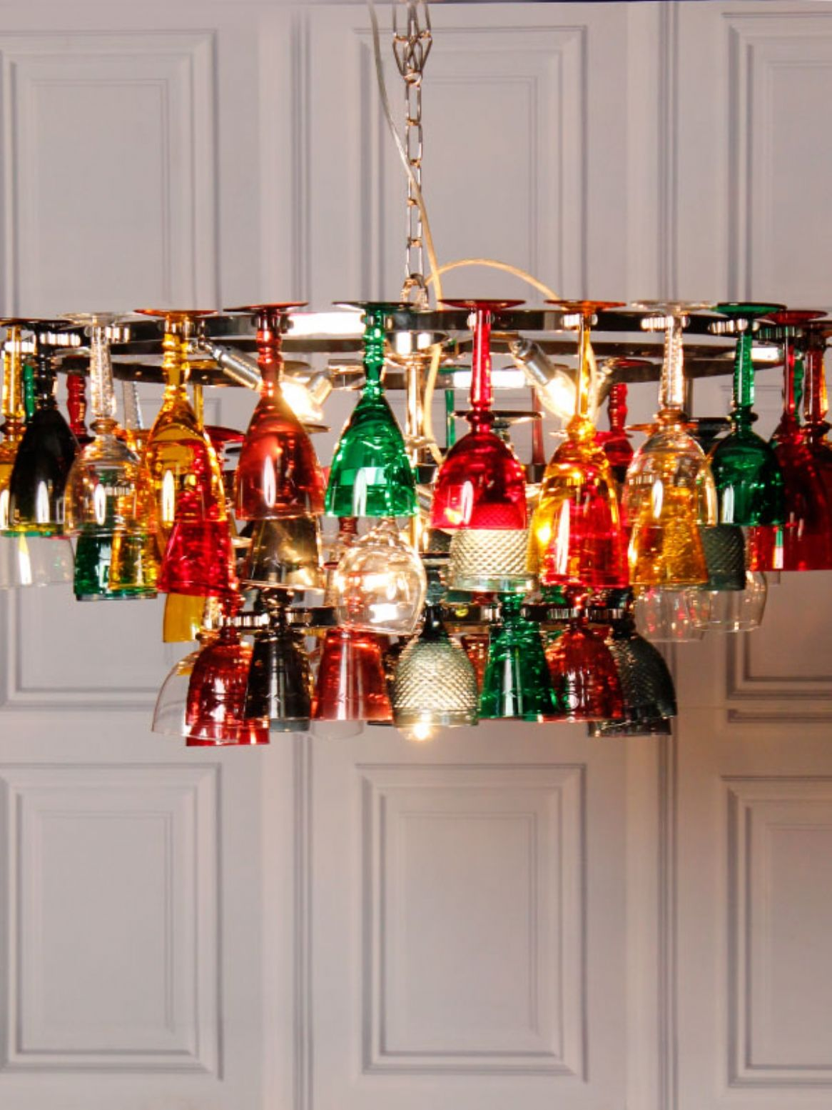 Coloured wine glass chandelier upcycling pinterest wine coloured wine glass chandelier aloadofball Image collections