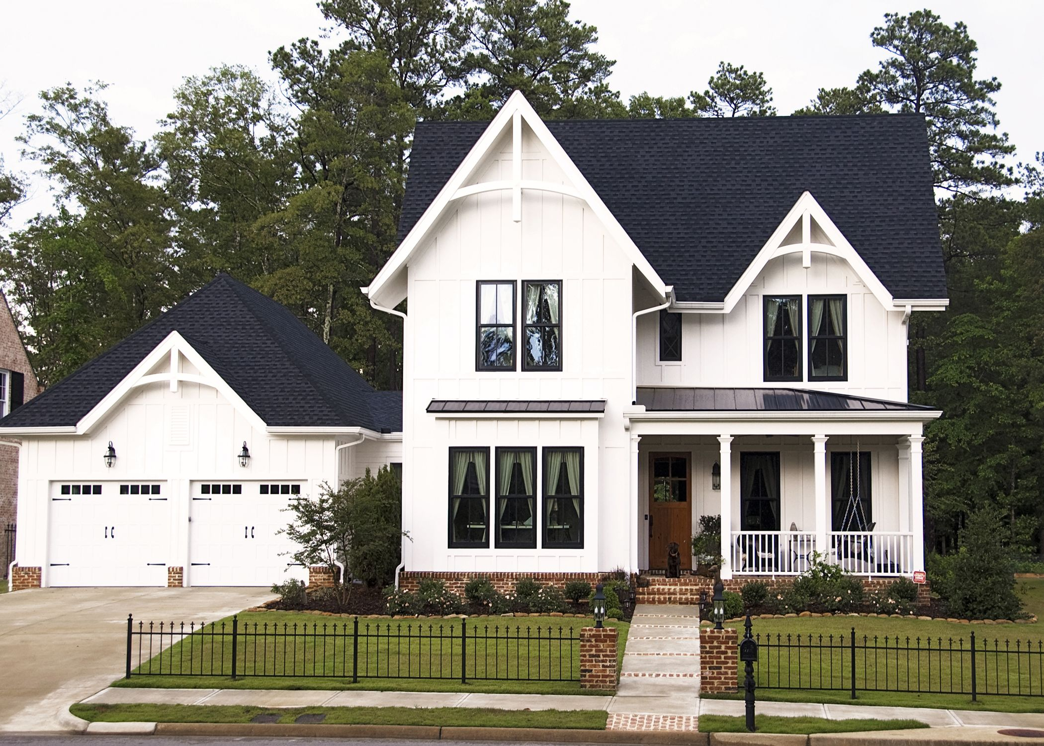 White Board and Batten front porch lab gable decorations black