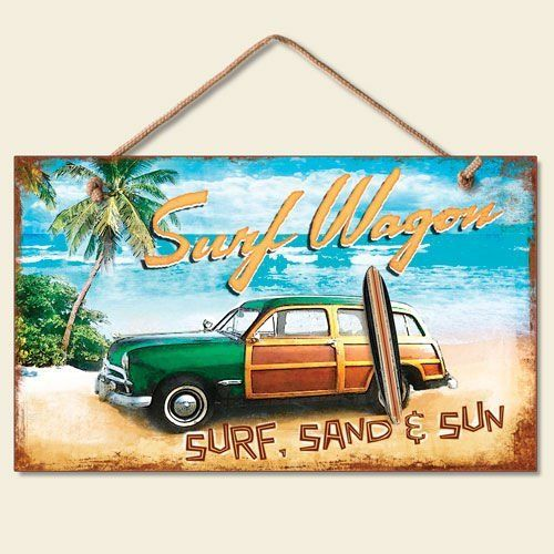 Surf Wagon Beach Sign Tropical Plaque Woody Palm Trees Ocean Coastal Art By Highland Graphics 9 99 9 5 X Beach Signs Decor Beach Signs Beach Signs Wooden