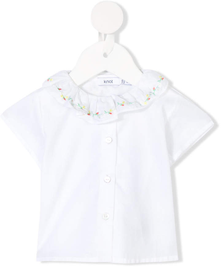 71ff4f66f38 Knot embroidered collar blouse Collar Blouse