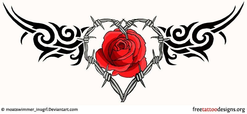 Barbed Wire Rose Tattoo: Lower Back Tattoos, Barbed Wire