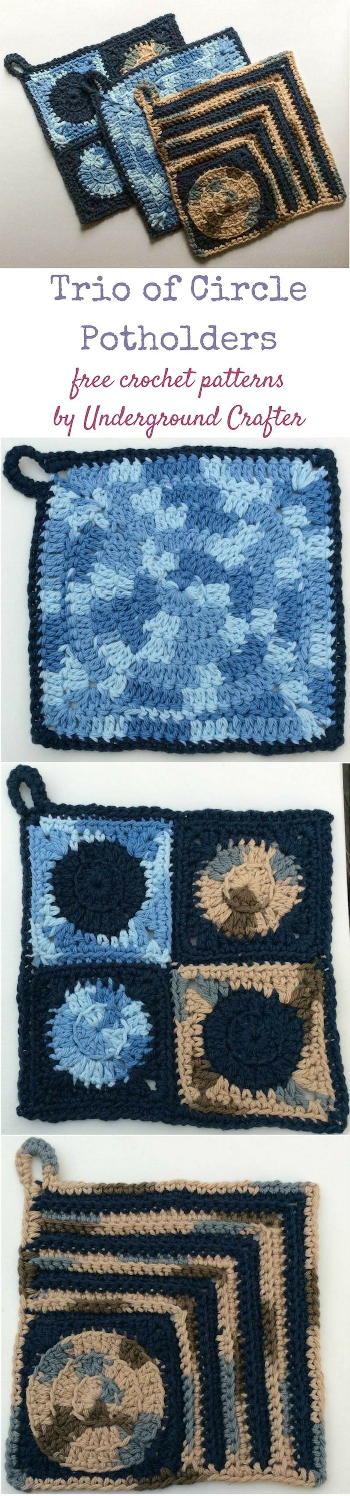 Free crochet patterns: Trio of Circle Potholders by Underground ...
