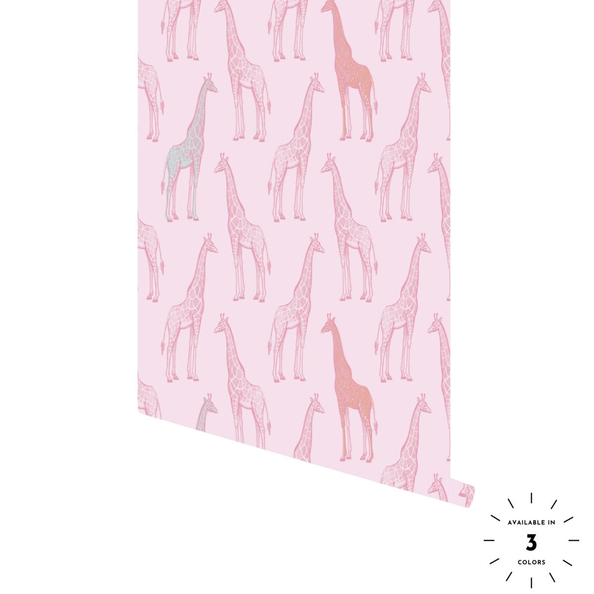 Sidney Giraffe Pattern Wallpaper Hand Sketch Peel And Stick Wallpaper